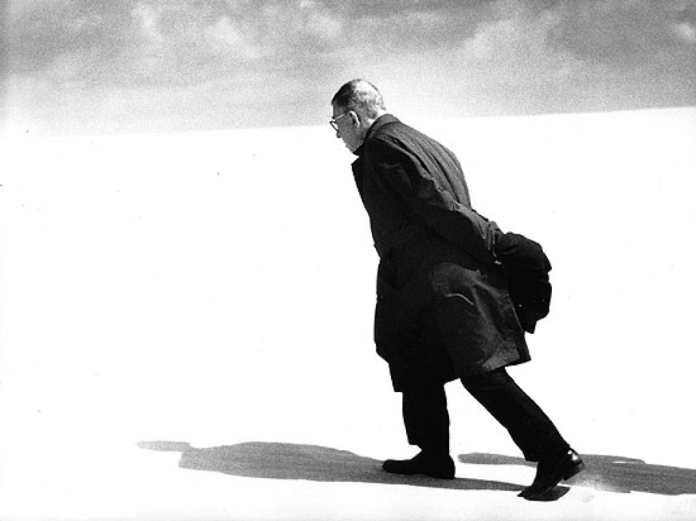 Sartre walking away from atheism.