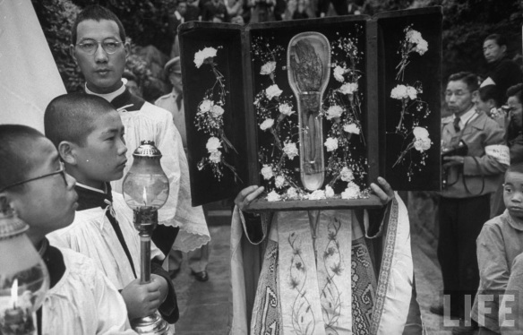 """Considering the relic itself, it strikes me that it is difficult to look at the shriveled fingers of the saint's hand and the exposed bones of his forearm without thinking of the disfigured flesh of the atom bomb's victims. Would the Catholics of Nagasaki have seen a link between Xavier's body and the bodies of their kin?"""